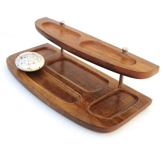 Vintage Mens Valet Organizer Wooden Dresser Tray 2 Tier Stand Wood
