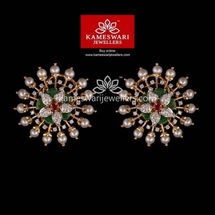 Martina Diamond Studs! Free Shipping Across #India and #USA Call/Whatsapp us on +91-7799217999 Beltmond Choker