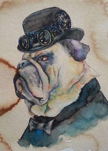 Bulldog Pug Dog Portrait Coffee And Watercolor Victorian Steam