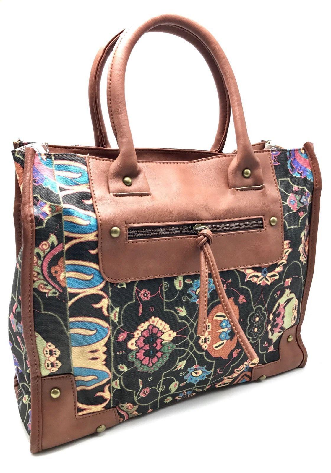 d'luna women's canvas purse tote bag handbag floral faux leather