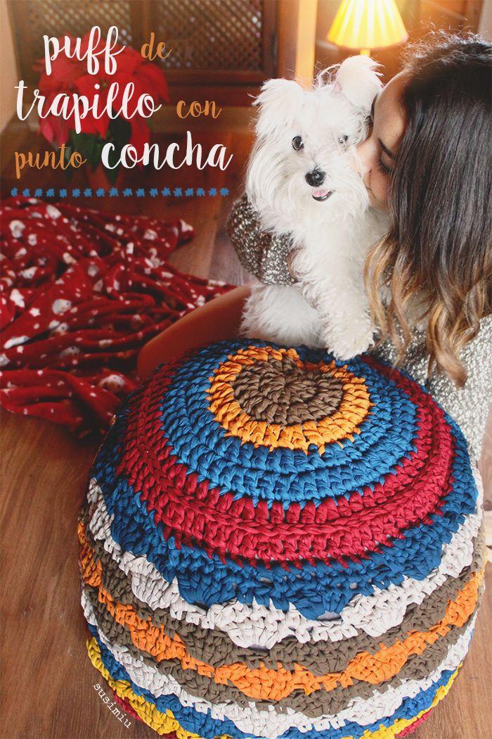 Tutorial de puff de trapillo a crochet con punto concha | Trapillo ...