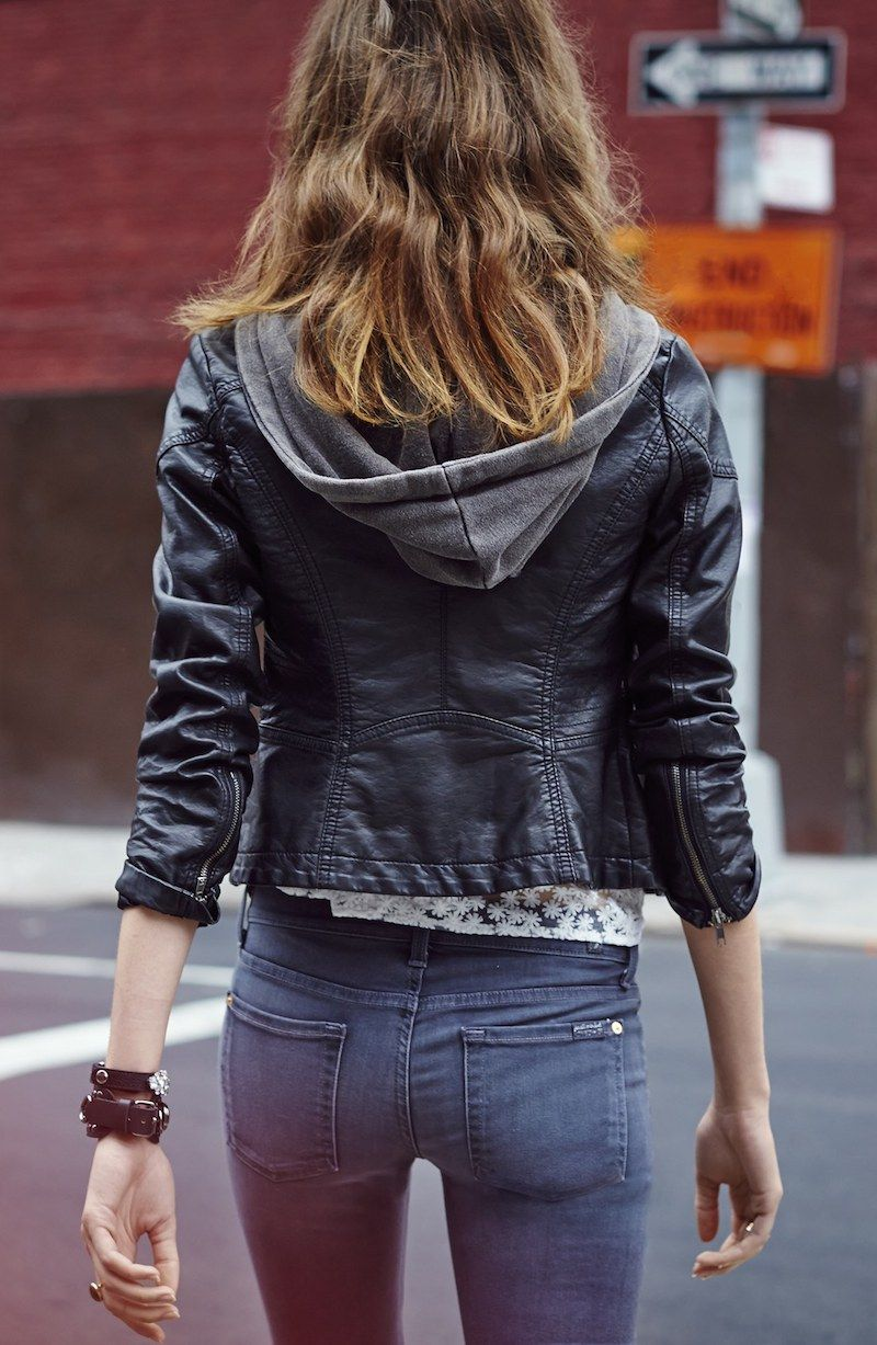 Free People Hooded Faux Leather Moto Jacket スキニー スタイル