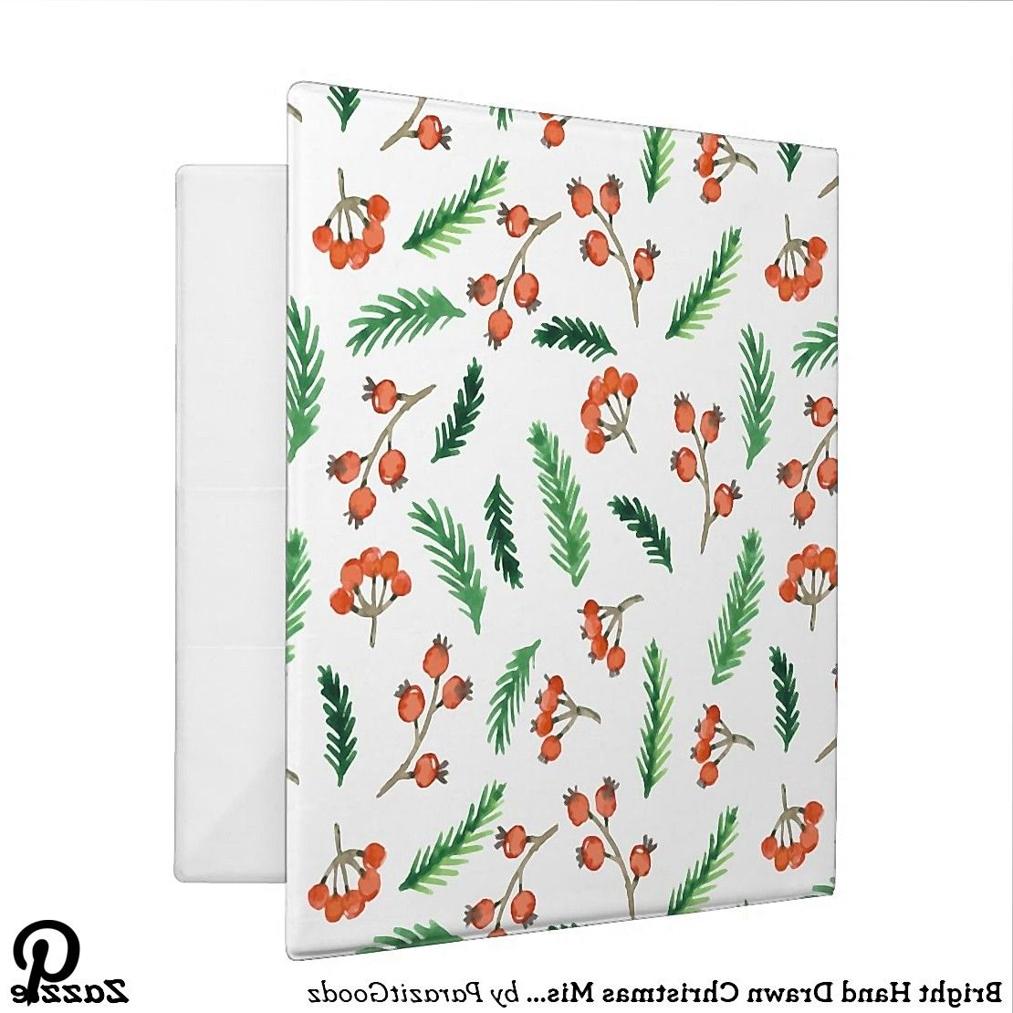 Bright Hand Drawn Christmas Mistletoe Pattern 3 Ring Binder Bright Hand Drawn Christmas Mistletoe Pattern 3 Ring Binder