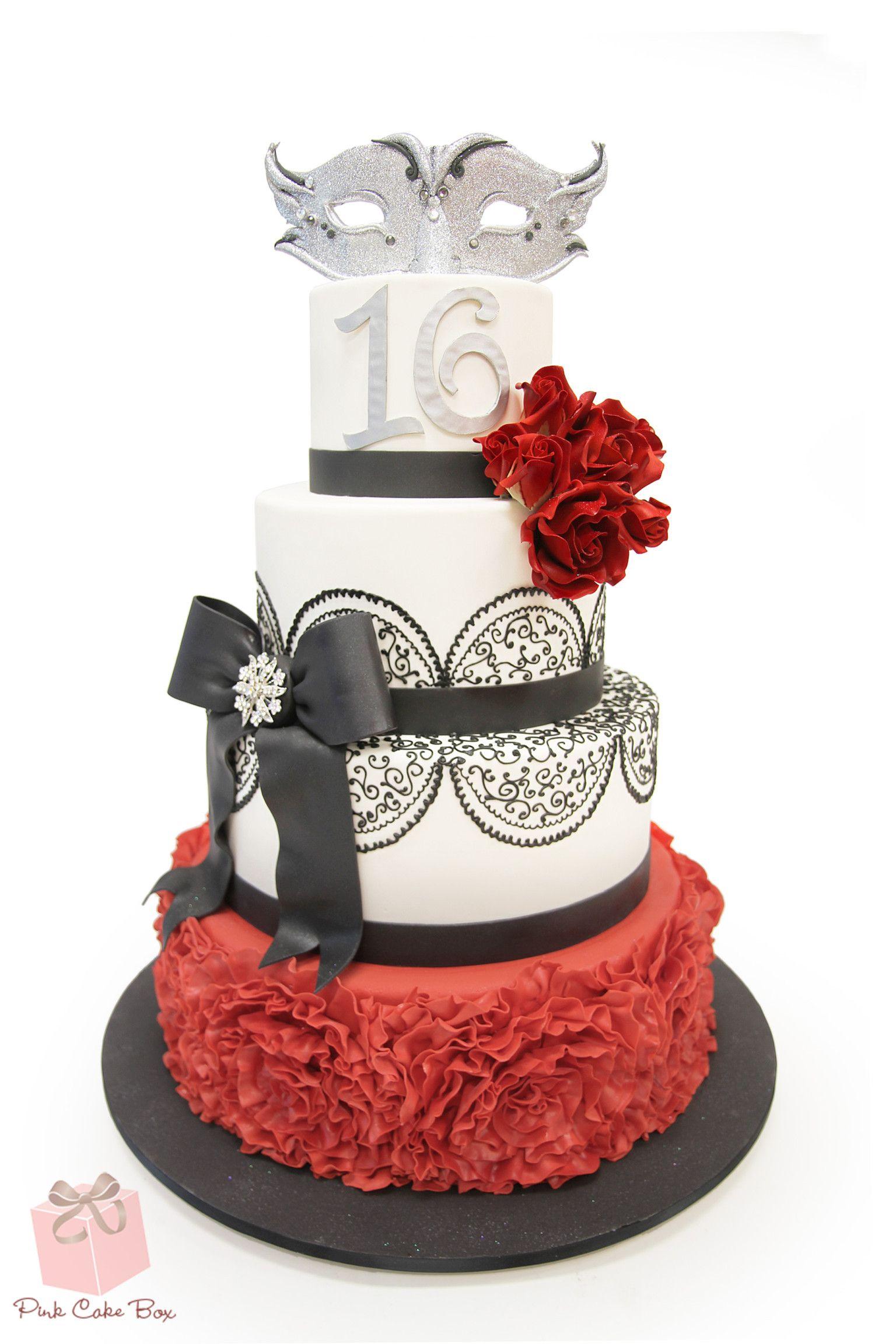 White & Red Sweet 16 Masquerade Cake » Sweet 16 Cakes | Sweet 16 ...