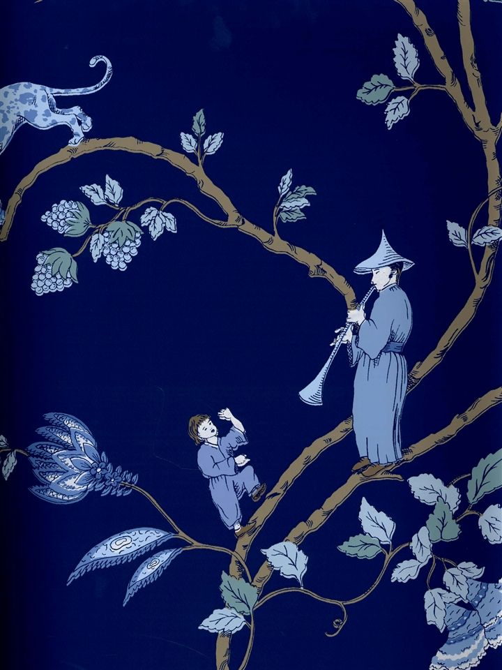 navy chinoiserie wallpaper (American Blinds, pattern