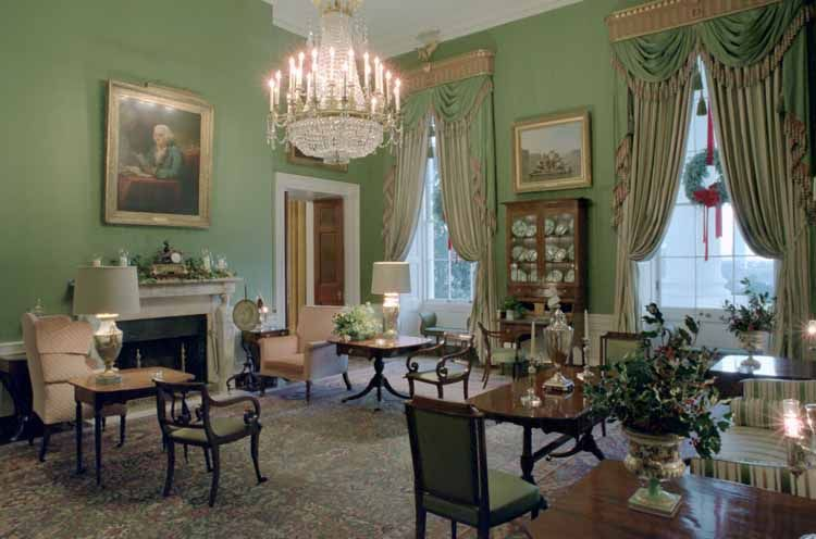 The Green Room Showing Priceless Portrait Of Benjamin Franklin Over Mantel This