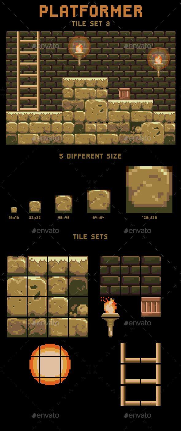 Egypt Tomb Tile Set Platform Gaming, Pixel games and