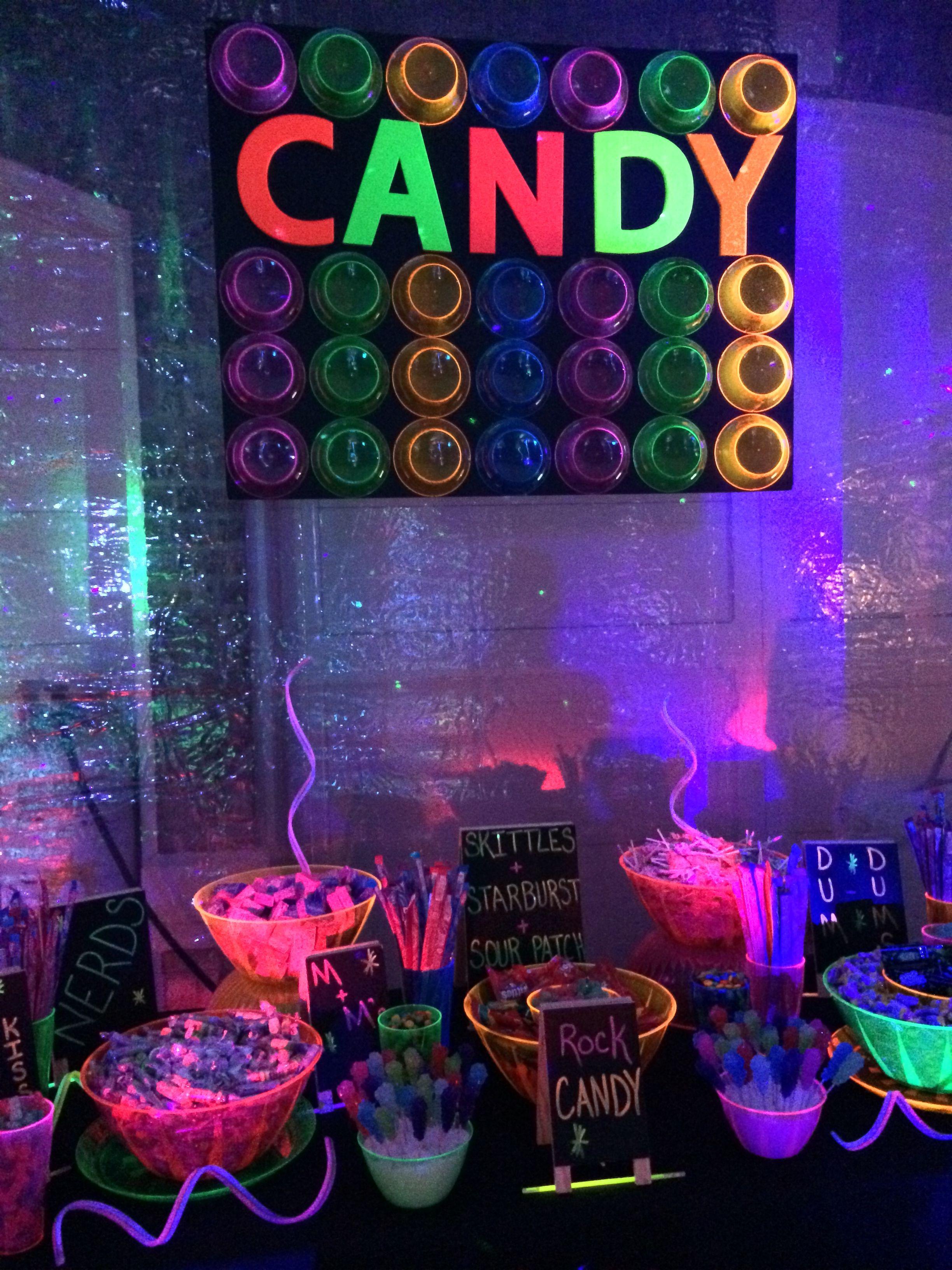A rockin candy buffet  Black Light Party  Preteen birthday parties Preteen birthday Glow party