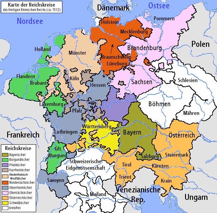 deutschland 16 jahrhundert karte Reichskreise zu Beginn des 16. Jahrhunderts. In Rot der
