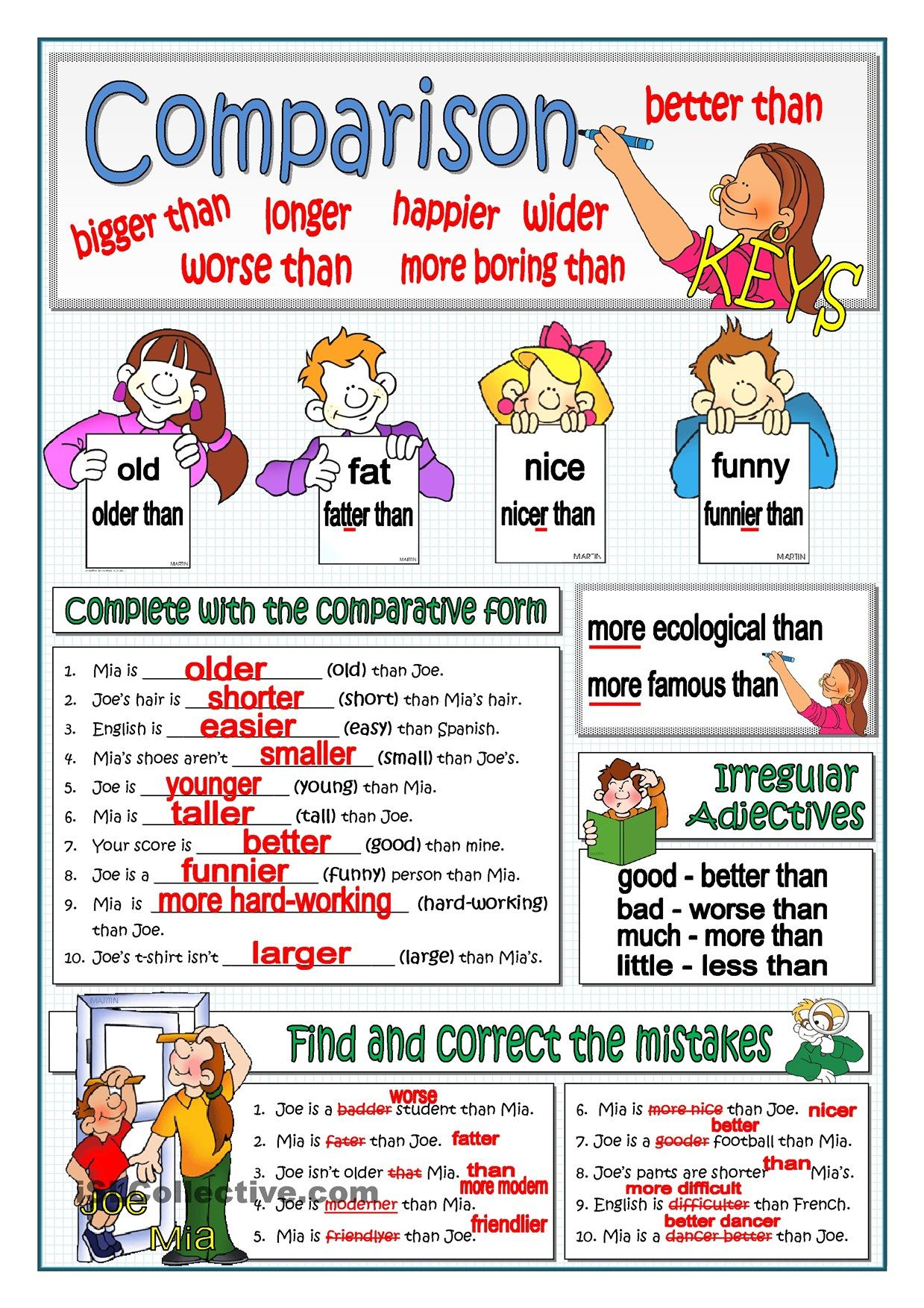 One Click Print Document Comparative Adjectives English Grammar Worksheets Teaching English [ 1753 x 1239 Pixel ]