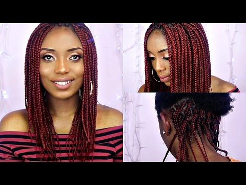 How To Box Braids Tutorial On Short Natural Hair Youtube Box