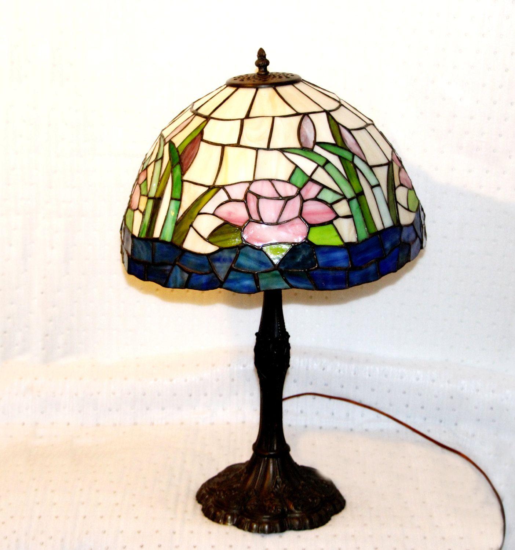 Vintage Tiffany Style Lamp Floral Motif Deep Cobalt Blue