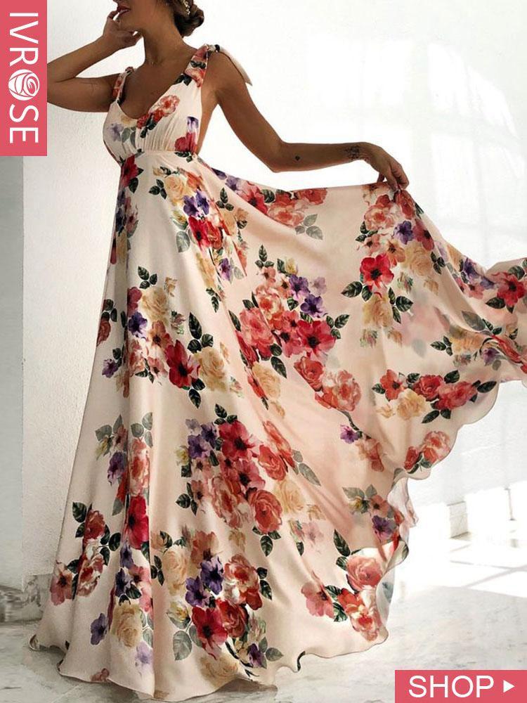Floral Print Tied Shoulder Backless Maxi Dress #maxidress