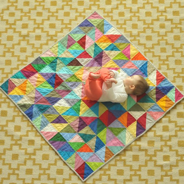 colorful triangle quilt- good for using scraps!