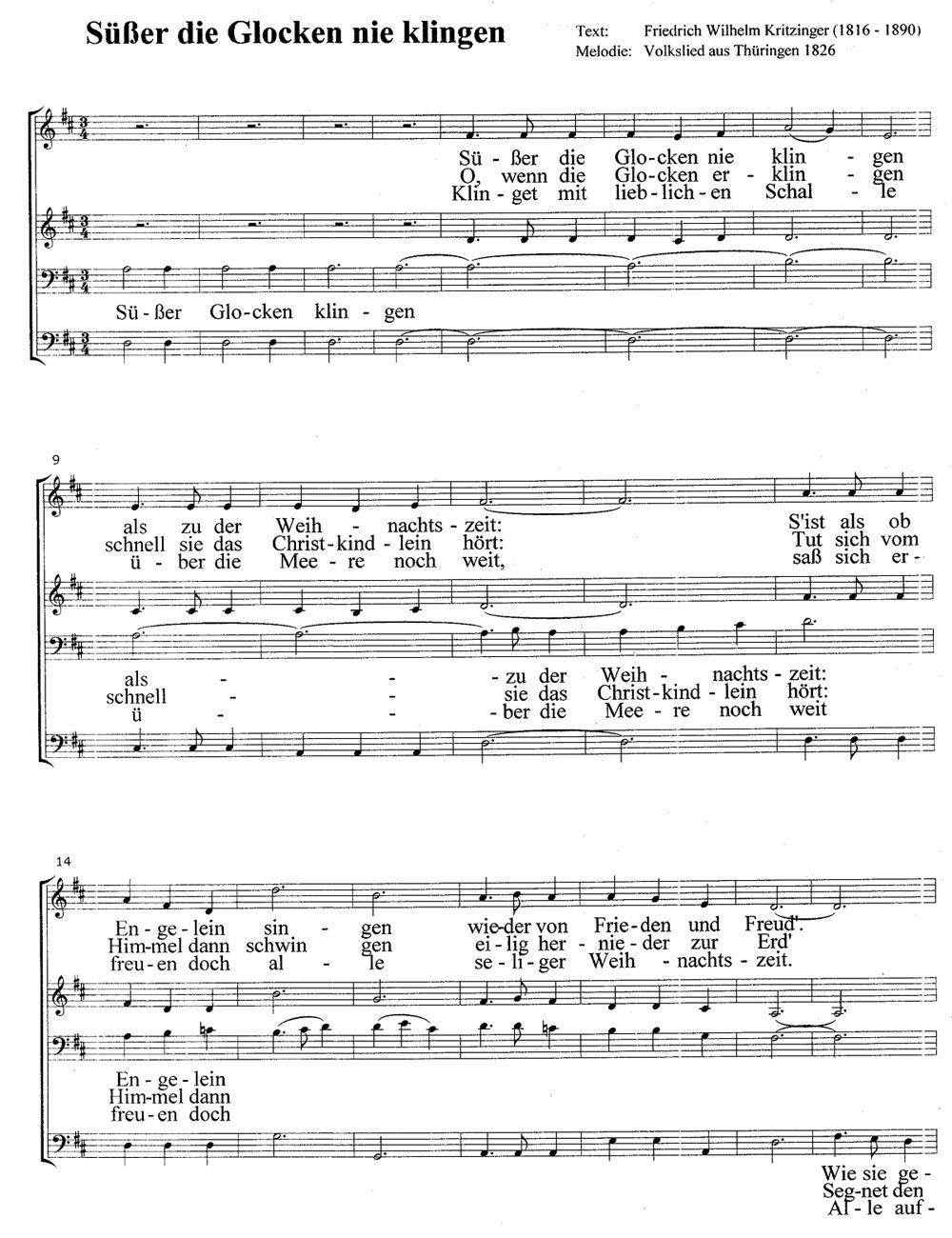Süßer die Glocken nie klingen - Weihnachtslieder mit Noten und ...