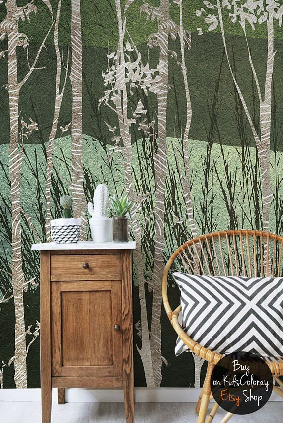 Textured Birch Trees wall mural Woodland wallpaper for