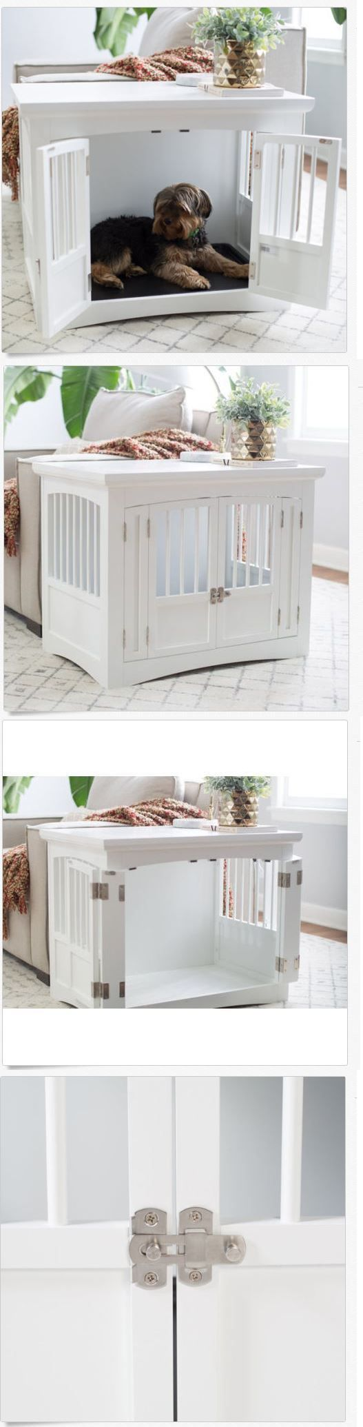 Animals Dog: End Table Dog Crate White Pet Kennel Cage Wood Indoor House  Furniture Puppy