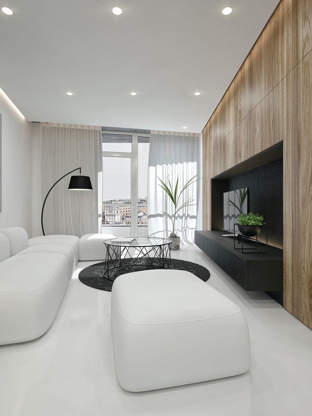 Sala De Estar Moderna Em Preto E Branco Por Id White Modern