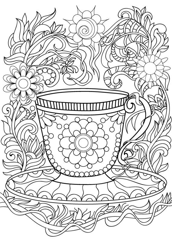 Tea Cups coloring pages waiting
