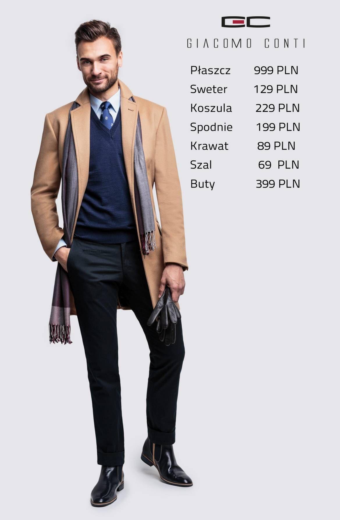 Stylizacja Giacomo Conti Plaszcz Casimiro 14 72 Wk Sweter Severo 13 114 Sr Koszula Michele 14 08 24 Spodnie Ri Mens Fashion Suits Suit Fashion Men S Blazer
