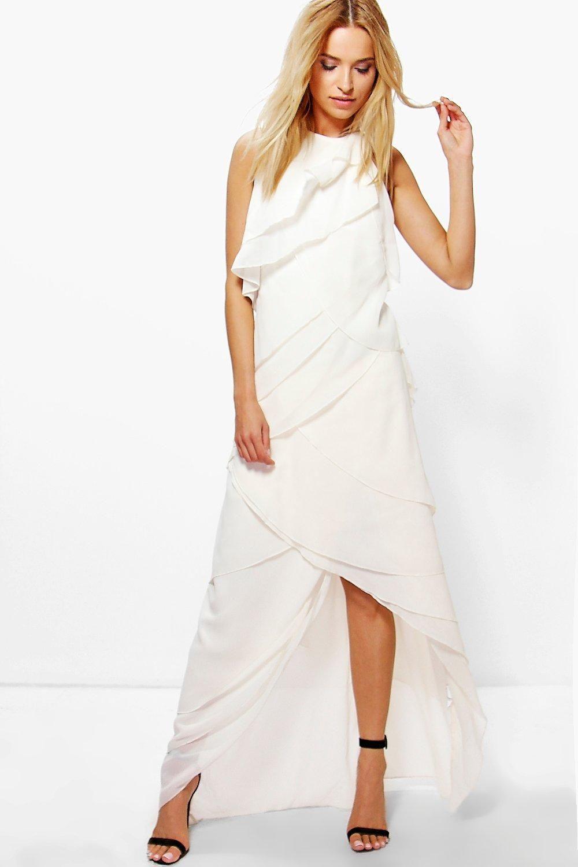 Boutique liyu chiffon ruffle halterneck maxi dress maxi madness