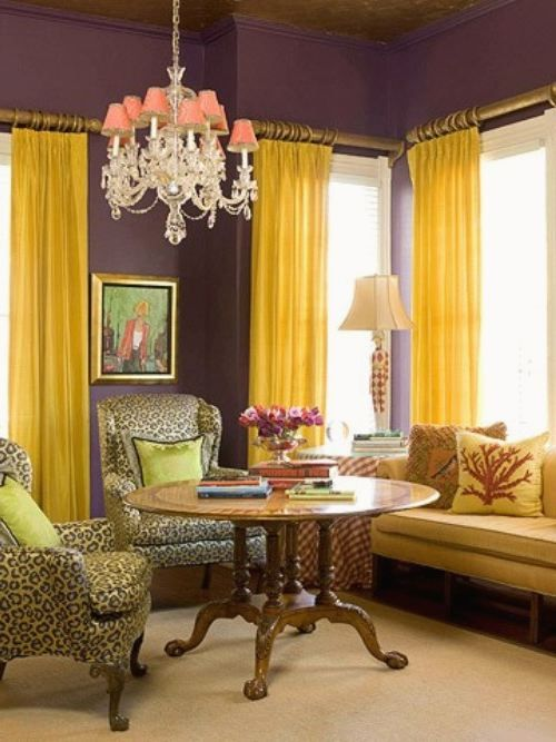 Funky Decorate Living Room Purple Walls Composition - Wall Art ...