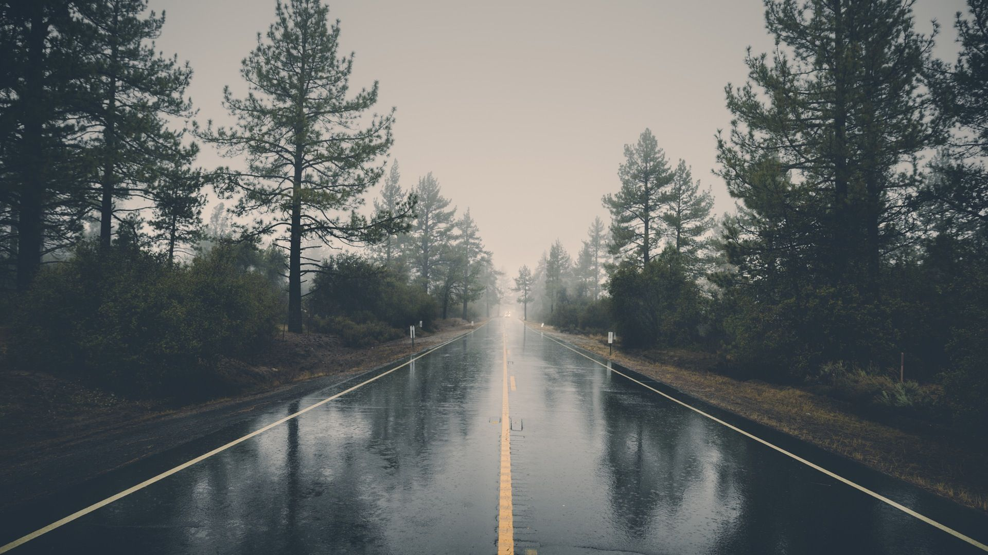 Looking Down The Rainy Road 1920x1080 Rain Wallpapers Landscape Laptop Wallpaper