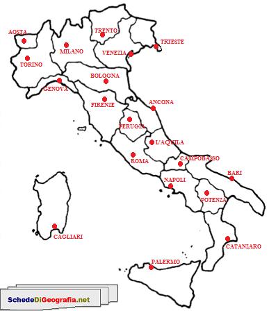 Cartina Nord Italia Con Regioni.Cartina Capoluoghi Di Regione Dell Italia Attivita Geografia Mappa Dell Italia L Insegnamento Della Geografia