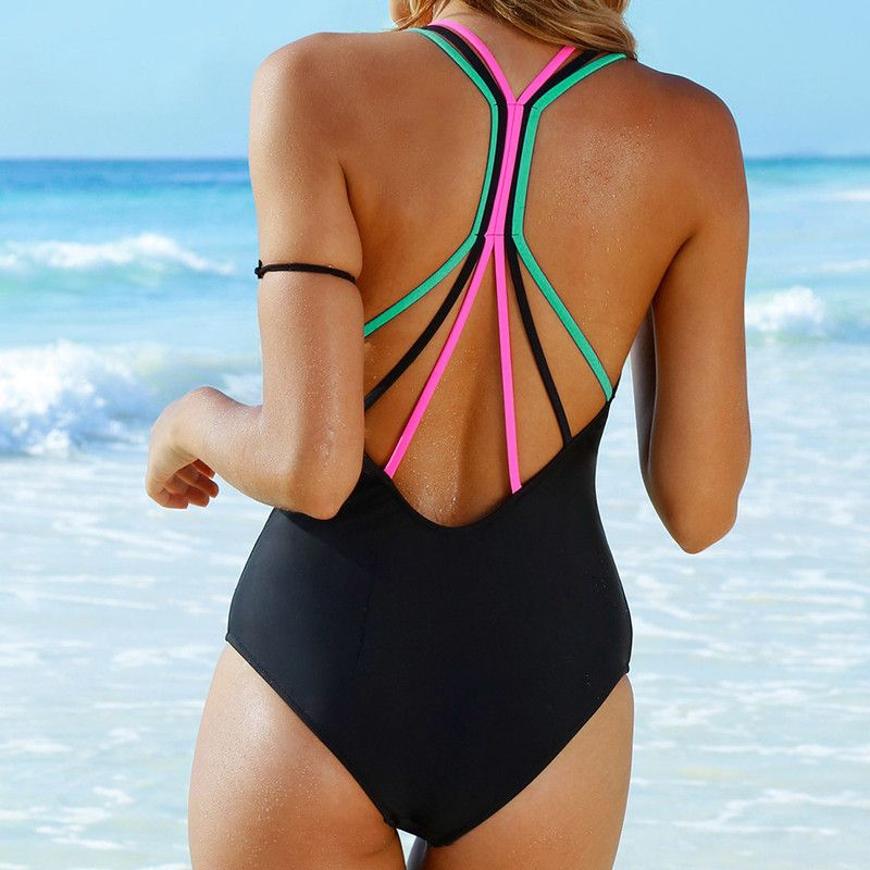 27834a20fc Womens one piece Swimsuit Sexy Coloured rope Bikini Padded Swimwear ...