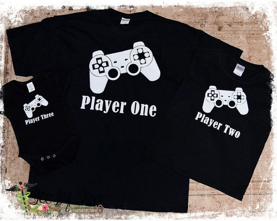 11329aaf0 SALE Player One and Player Two Onesie and T-shirt Set Video Game Party,