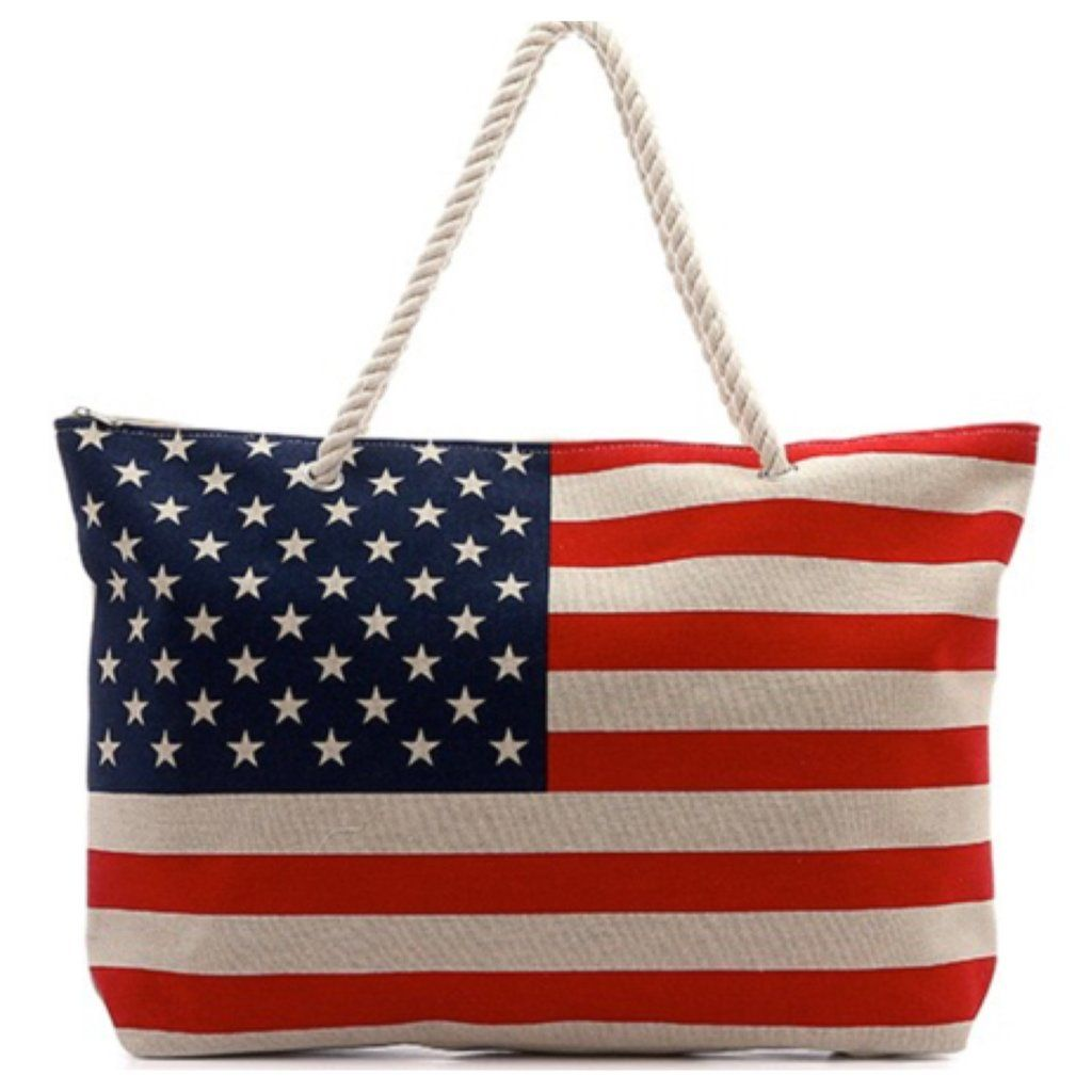 """American Pride"" Stars and Stripes American Flag Tote Bag,"