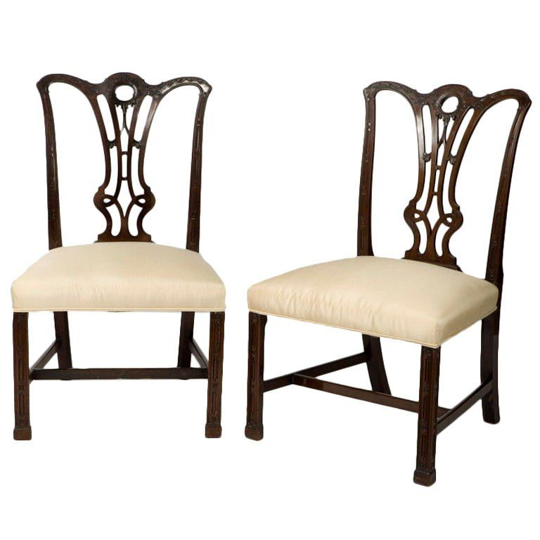 Wonderful Chippendale Chairs Part - 13: Pair Of George III Mahogany Chippendale Chairs