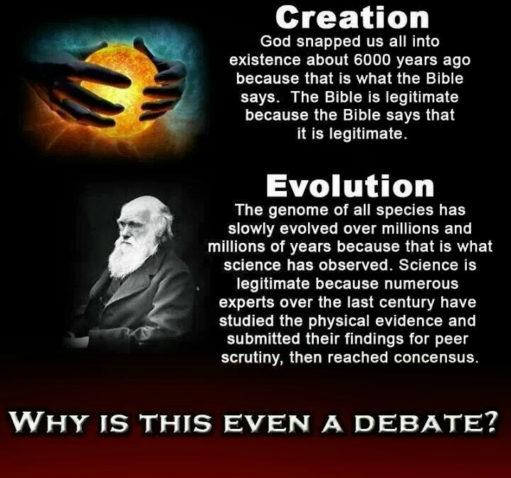 a debate of evolution versus creationism among scientists and christians Is creation vs evolution a question of science, or a question of sin  of this  answer to present a scientific argument in the creation vs evolution debate   took place in his life, he later renounced the christian faith and the existence of  god.