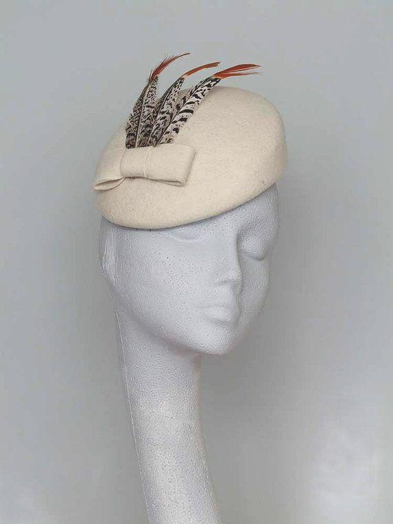 7b6b8b707fc80 Ivory Felt Fascinator Headpiece by CoggMillinery on Etsy