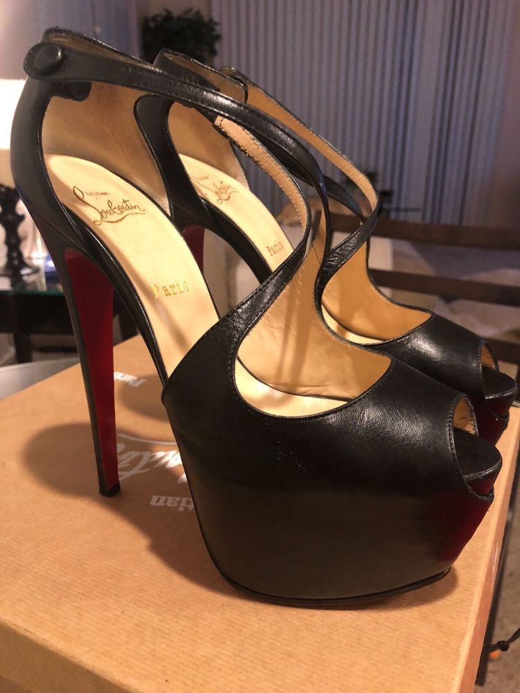 944ce4d6b28 christian louboutin 40 black Exagona platform heels excellent ...