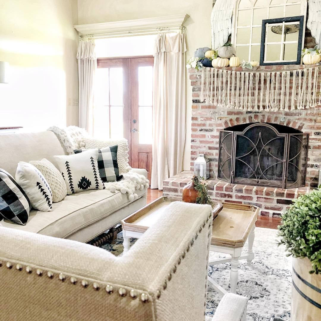 Best Boho Farmhouse Style Black And White Living Room Family Room Linen Sofa Brick Fireplace 400 x 300