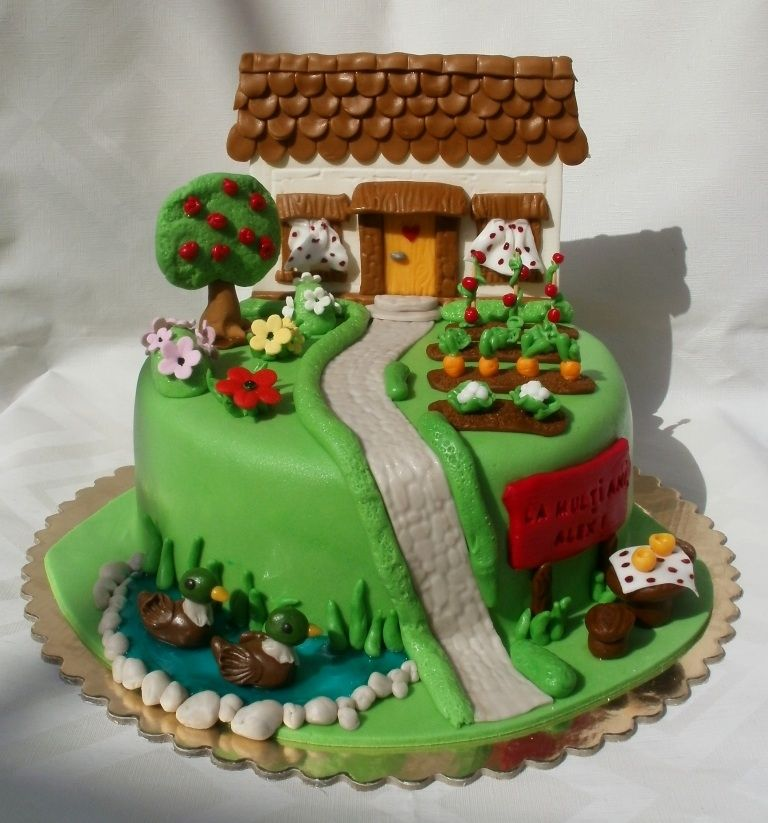 House with garden | Farm animal cakes and cupcakes ...