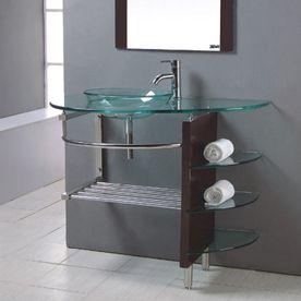 Kokols Usa Clear 32 In Vessel Single Sink Bathroom Vanity With