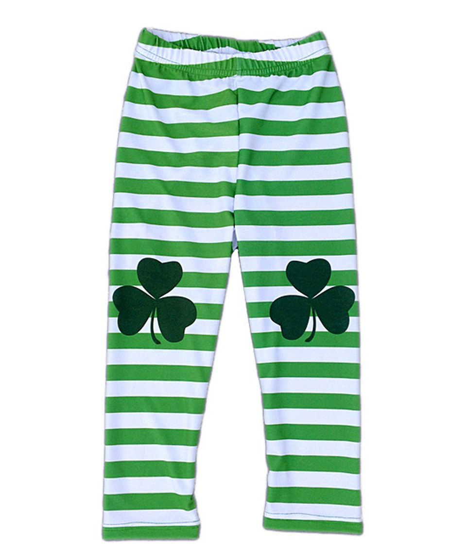 0352c9b8bb23e Loving this Urban Smalls Green & White Stripe Shamrock Leggings - Infant,  Toddler & Kids on #zulily! #zulilyfinds