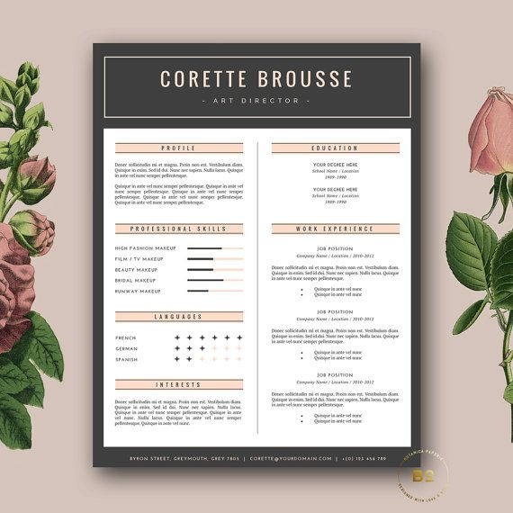 creative resume template feminine resume free cover letter for word and pages 3 page resume design word template instant download - Creative Resume Template Download Free