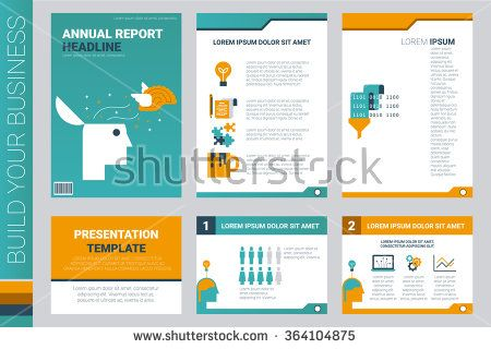 Annual report book cover and presentation template with flat ...