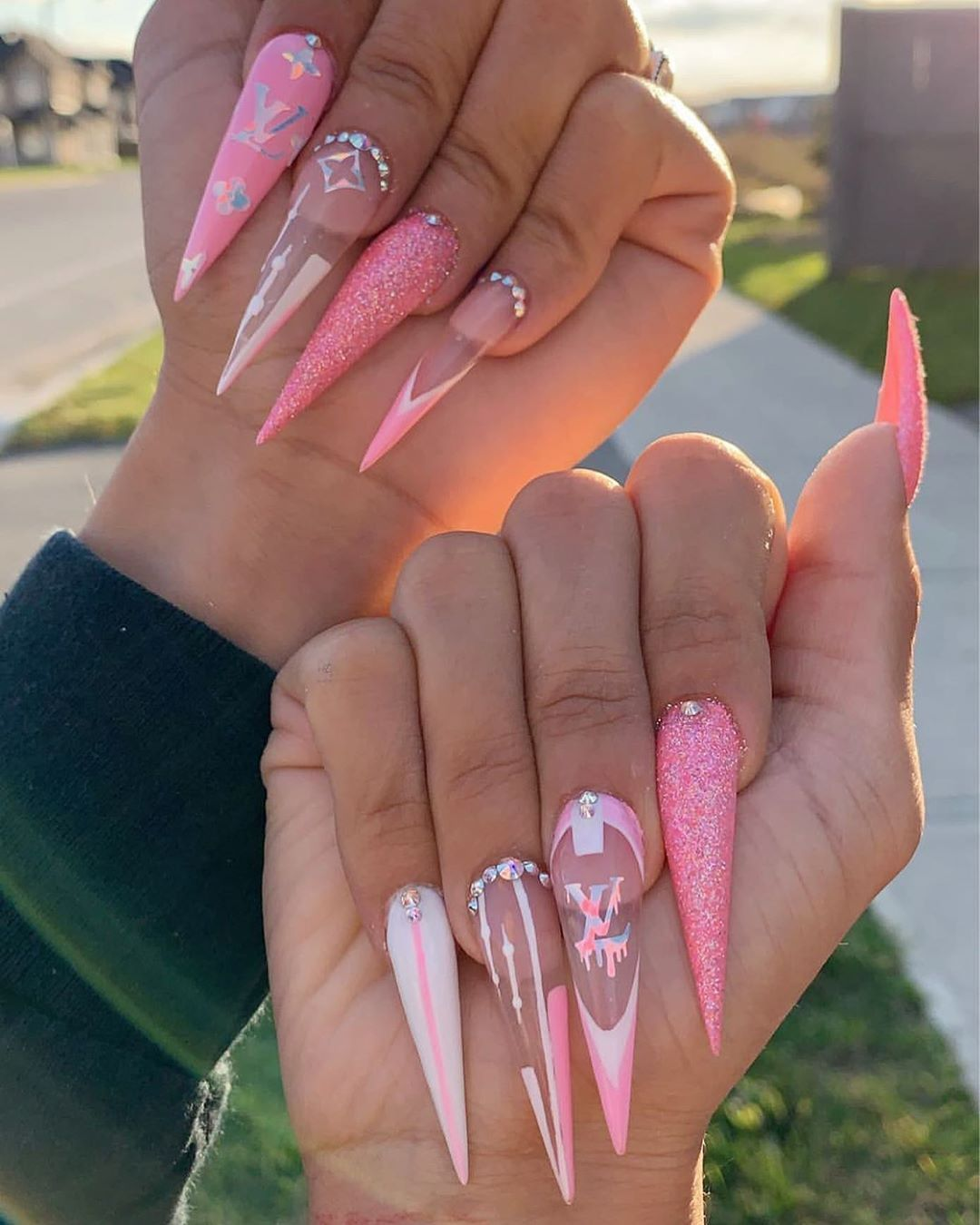 Updated 30 Louis Vuitton Nail Designs July 2020 In 2020 Long Acrylic Nails Fire Nails Pretty Acrylic Nails