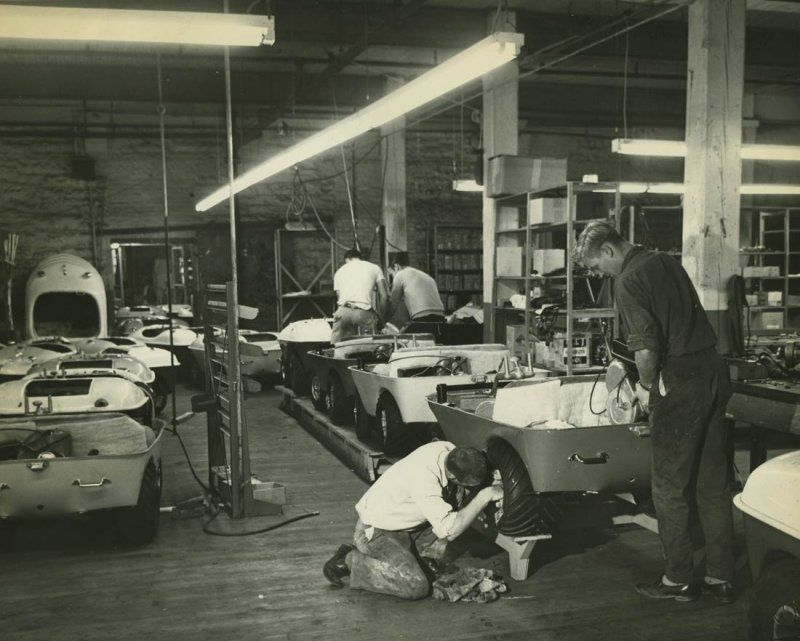 Penguin assembly line in Bates & Innis Mill building