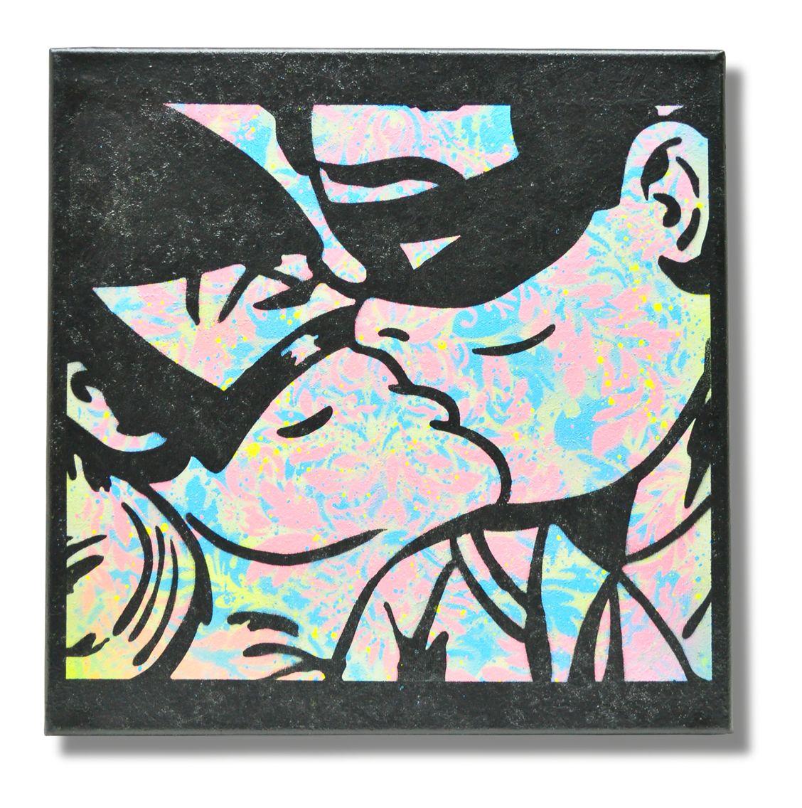 Robin kissing cat women stencil art on canvas by James Warner