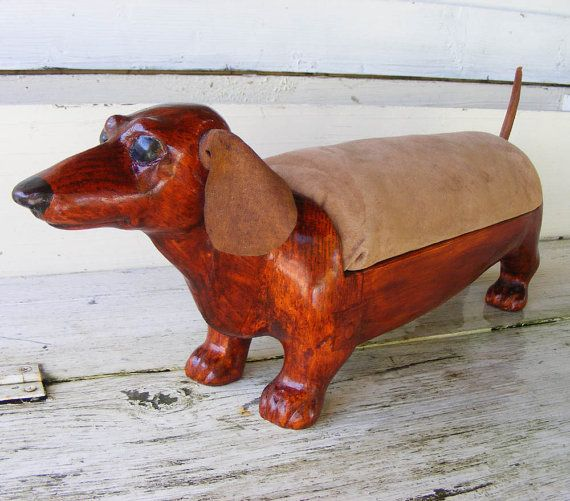 Red Dachshund Footstool by GoodWoodDogs on Etsy