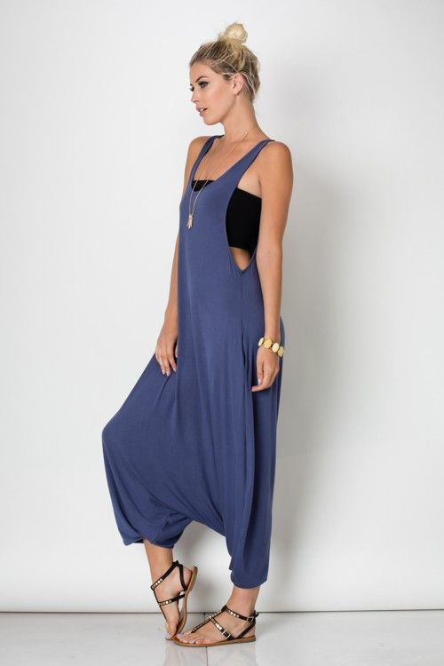 e38fcfcd0f81 SLEEVELESS ROUND NECK HAREM JUMPSUIT Fabric 95%RAYON 5%SPANDEX Made in  U.S.A.