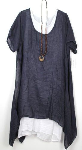 53752af898 Plus-Size-Ladies-Italian-Lagenlook-Boho-Side-Split-Linen-Long-Cotton-Tunic- Dress