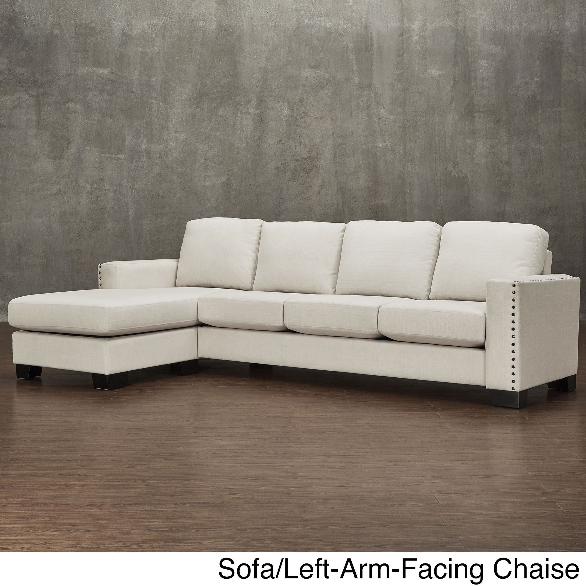 Torrington Linen Nailhead Track Arm L-shaped Configurable Chaise Sectional  by Inspire Q (Sofa with Left-Arm-Facing Chaise), White (Fabric)