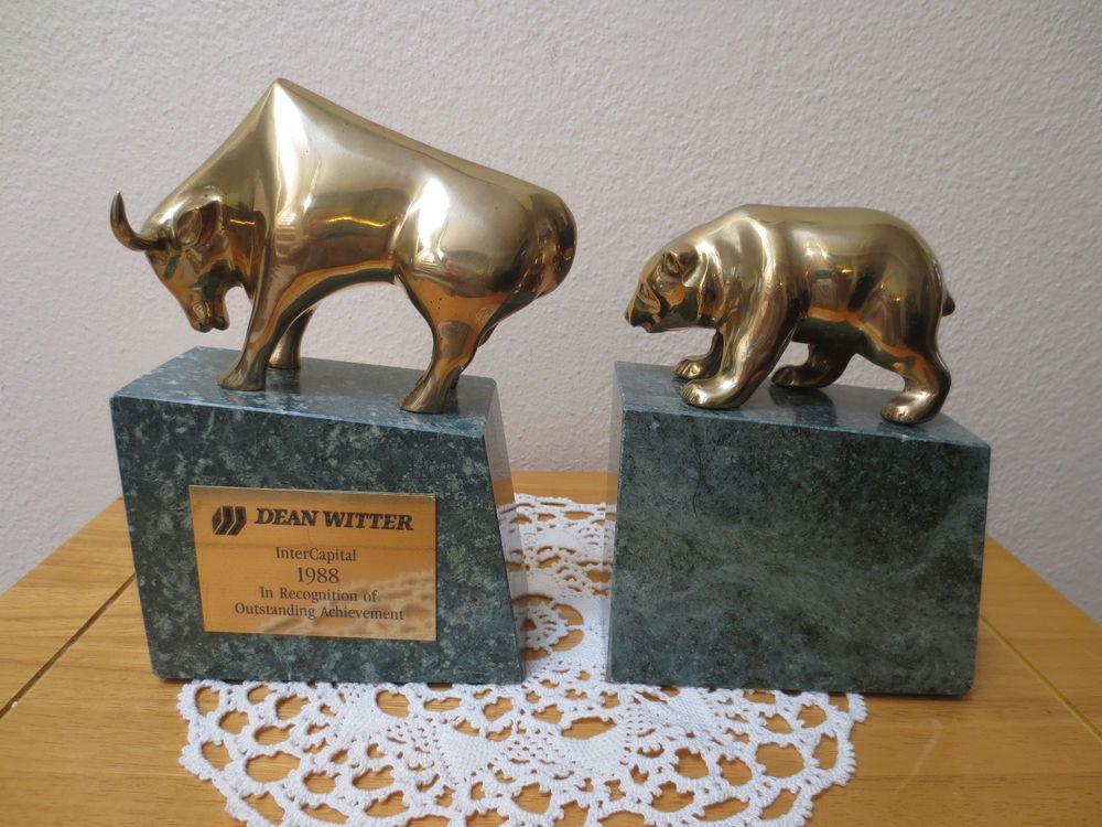 Dean Witter, Marble U0026 Brass, Bull U0026 Bear Bookends; Wall Street Investment  Gatco