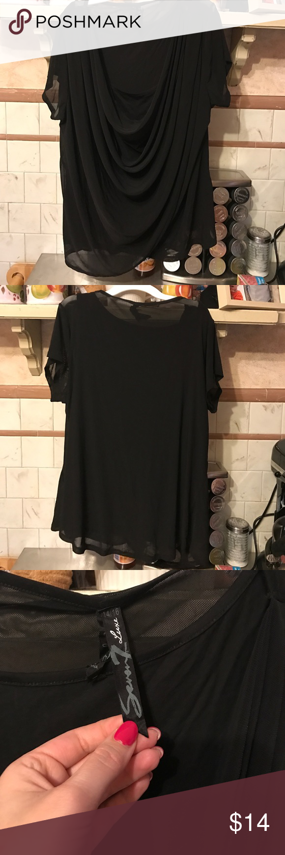 Seven Luxe Lane Bryant 14/16 Great condition not even sure I ever wore it. Black connected tank underneath shear top layer super cute and comfy not clingy Seven7 Tops Blouses